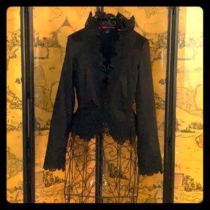 White House Black Market Black Lace trimmed Blazer